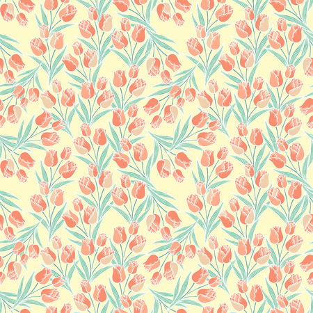 graceful tulip seamless pattern over beige background