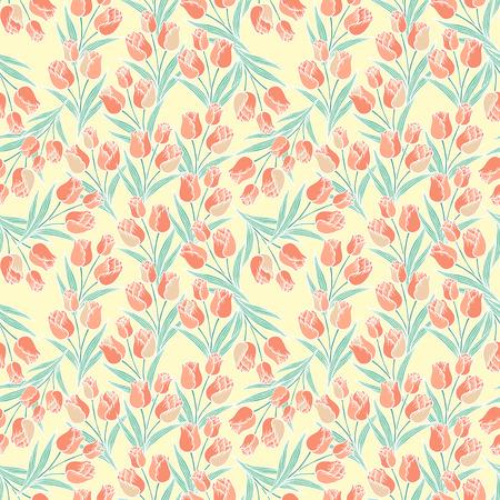 sierlijke tulp naadloze patroon op beige achtergrond Stock Illustratie