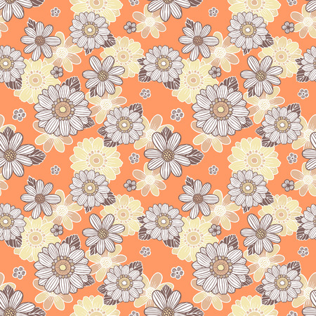 seamless background with daisy flowers over orange