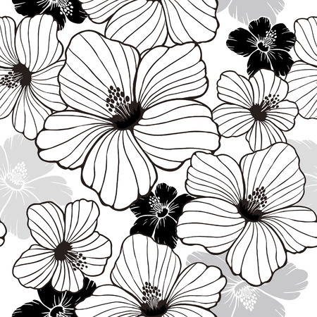 the simplicity: simplicity hibiscus seamless pattern in black and white Illustration