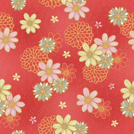 elegant floral seamless pattern over red background