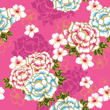 Taiwan Hakka culture floral seamless pattern over pink