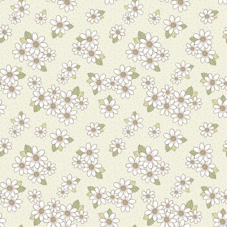 베이지 색 배경 위에 사랑스러운 꽃 원활한 패턴 일러스트