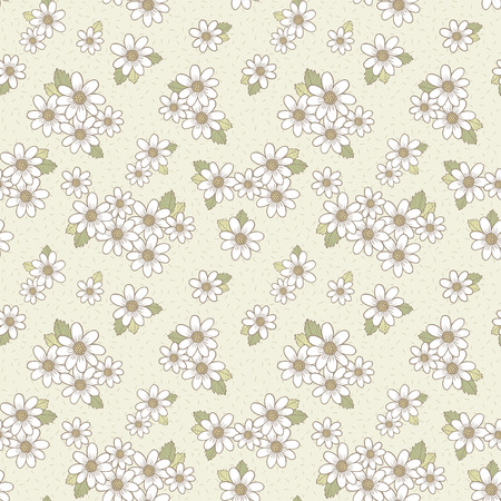 wallpaper abstract: adorable flower seamless pattern over beige background