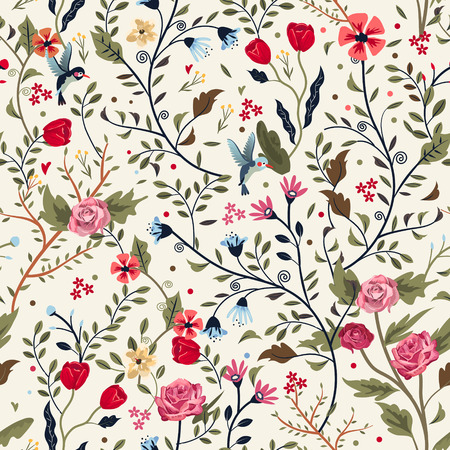 colorful adorable seamless floral pattern over beige background 일러스트