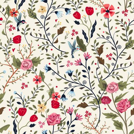 colorful adorable seamless floral pattern over beige background Illustration