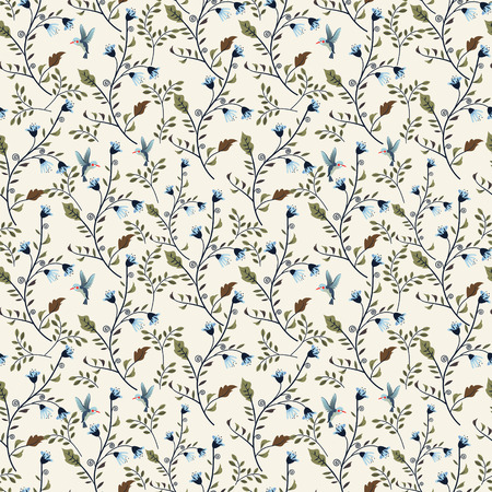 soulful: colorful adorable seamless floral pattern over beige background Illustration