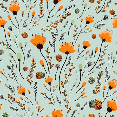 lovely yellow flower seamless pattern over blue background Stock Illustratie