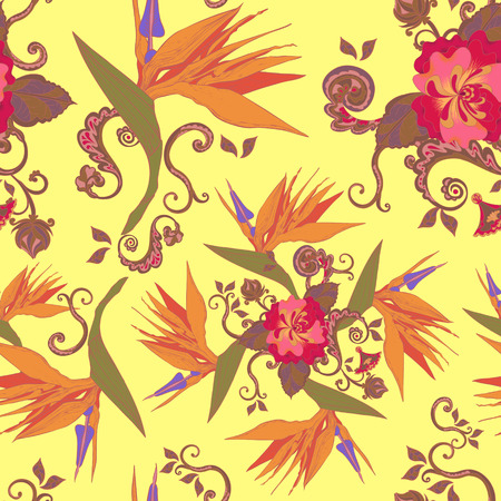 soulful: bird of the paradise flowers seamless pattern background Illustration