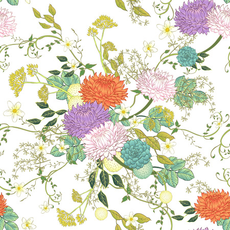 vintage ornate chrysanthemum seamless pattern over white background Illustration