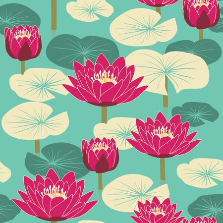 soulful: elegant floral seamless pattern with lotus over blue background Illustration