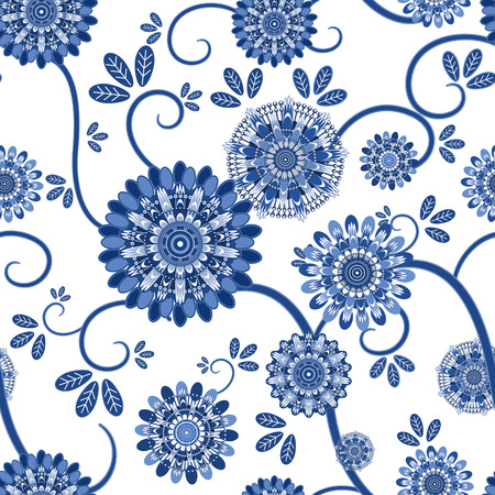 ameba: Modelo inconsútil floral de la vendimia sobre el fondo blanco Vectores