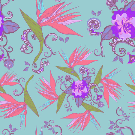 modern bird of paradise flowers seamless pattern over blue background