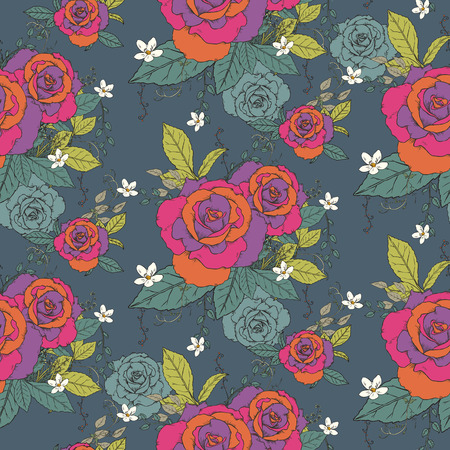 elegant seamless rose pattern over dark background