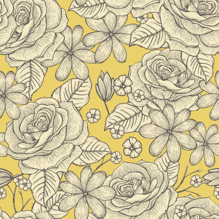 rose flowers: retro seamless hand drawn rose pattern over yellow background Illustration
