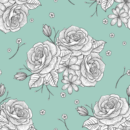 hand drawn rose: retro seamless hand drawn rose pattern over blue background Illustration