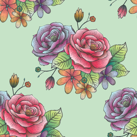 hand drawn rose: retro seamless hand drawn rose pattern over green background