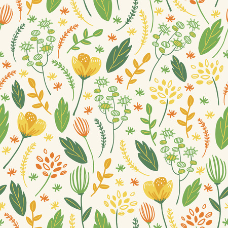 colorful floral seamless background in doodle style