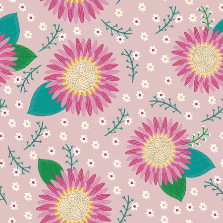 soulful: lovely pink flower seamless pattern over pink background