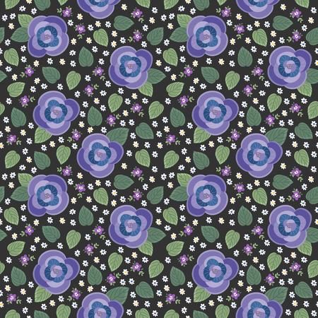 pansy: lovely pansy seamless pattern over black background