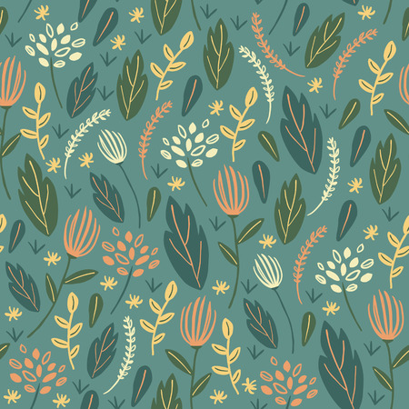 soulful: colorful leaves seamless background in doodle style