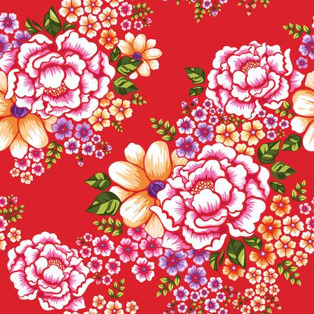 대만 객가 문화는 위에 빨간색 원활한 패턴 플로랄 일러스트