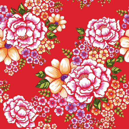 Taiwan Hakka culture floral seamless pattern over red