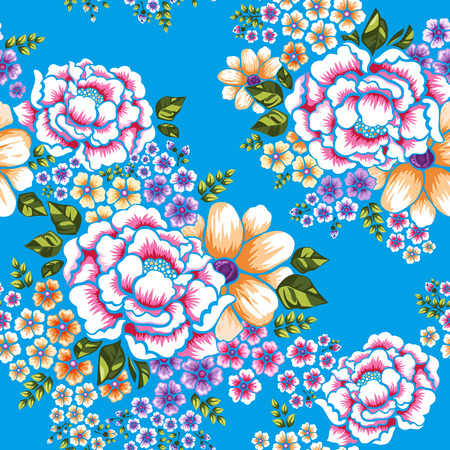 Taiwan Hakka culture floral seamless pattern over blue