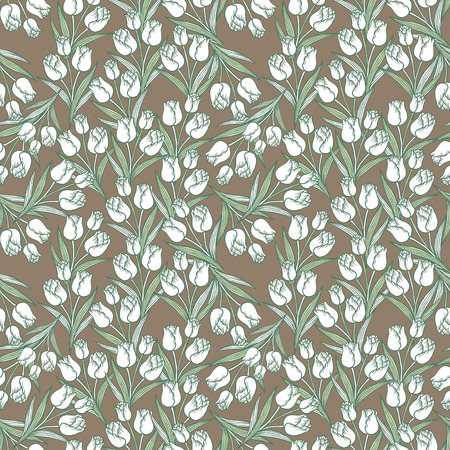 soulful: graceful tulip seamless pattern over brown background Illustration