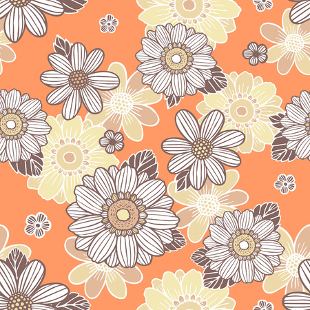 soulful: seamless background with daisy flowers over orange