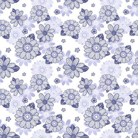 seamless background with daisy flowers over white Ilustrace