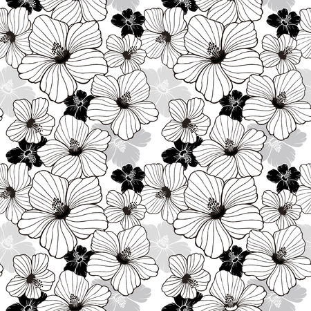 simplicity hibiscus seamless pattern in black and white Vector
