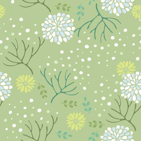 elegant floral seamless pattern over green background