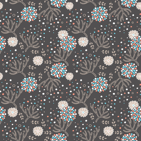 soulful: elegant floral seamless pattern over brown background