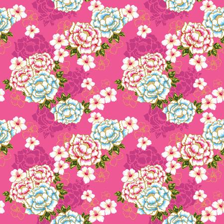 Taiwan Hakka cultuur Bloemen naadloze patroon over roze