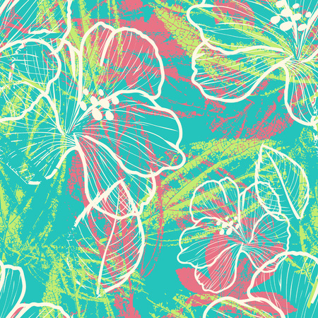 soulful: modern colorful floral seamless pattern with leaves prints elements
