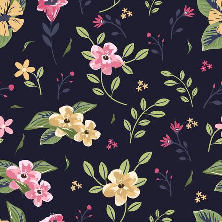 fond sombre: belle floral seamless pattern sur fond sombre Illustration