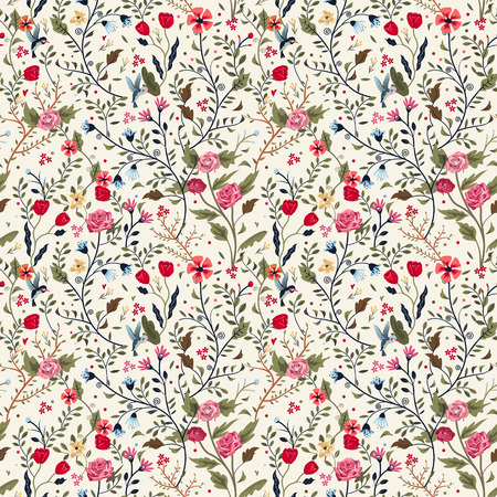 colorful adorable seamless floral pattern over beige background Çizim