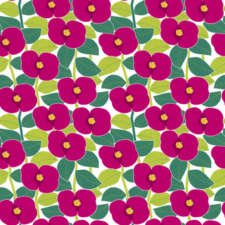 soulful: pink flowers seamless pattern over white background