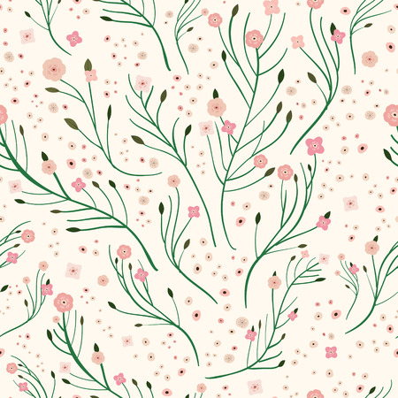 soulful: adorable pink floral seamless pattern over pink background Illustration
