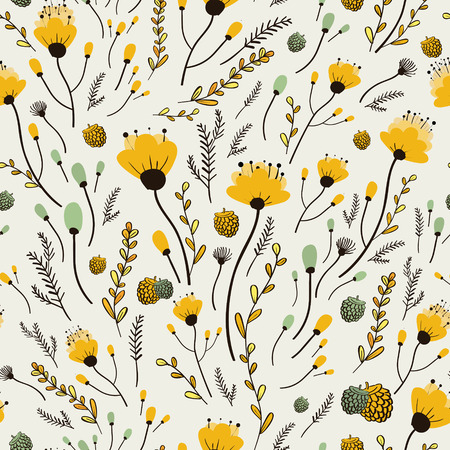 白い背景の上素敵な黄色の花のシームレスなパターン