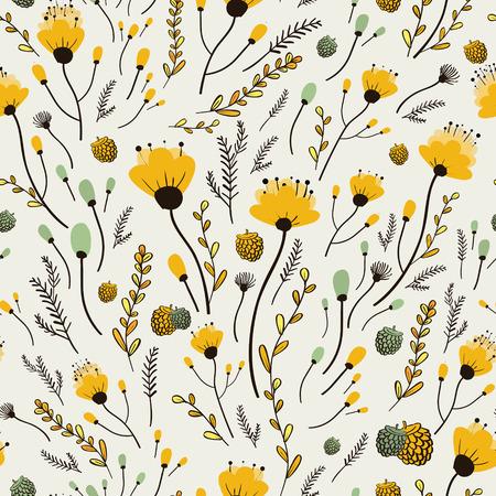 Belle fleur jaune seamless pattern sur fond blanc Banque d'images - 36510084