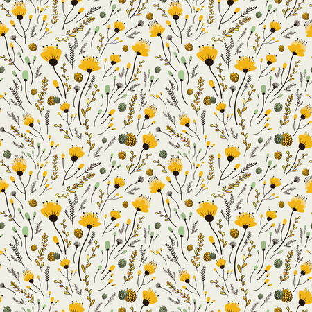 soulful: lovely yellow flower seamless pattern over beige background