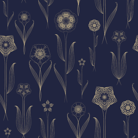 plant cell: delicate seamless floral pattern background over blue