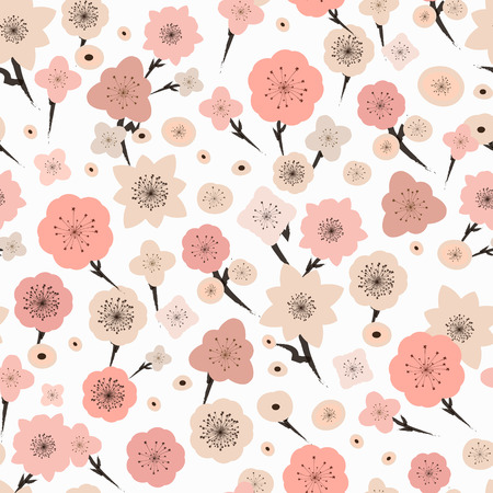 adorable plum flower seamless pattern over white