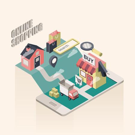 vlakke 3d isometrische online winkelen illustratie over beige achtergrond