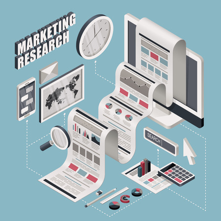 researching: flat 3d isometric marketing research illustration over blue background