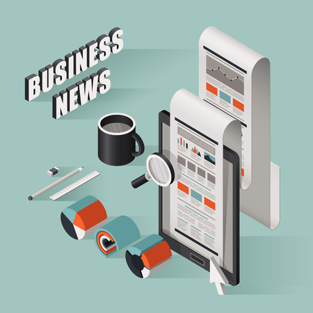 business news: flat 3d isometric business news illustration over blue background
