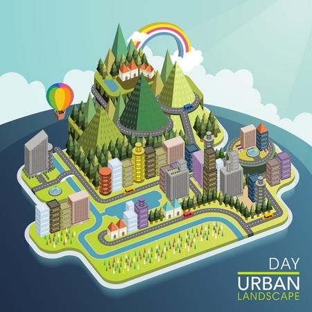 flat 3d isometric urban landscape illustration over blue background