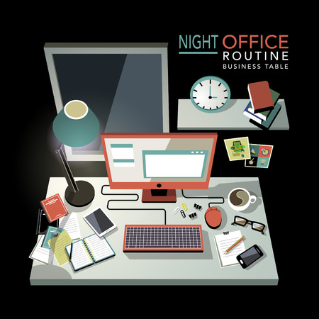 routine: flat 3d isometric night office routine illustration over black background